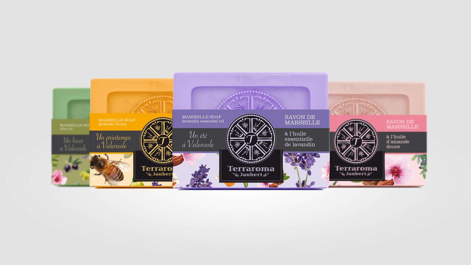Packaging : savons gamme terraroma