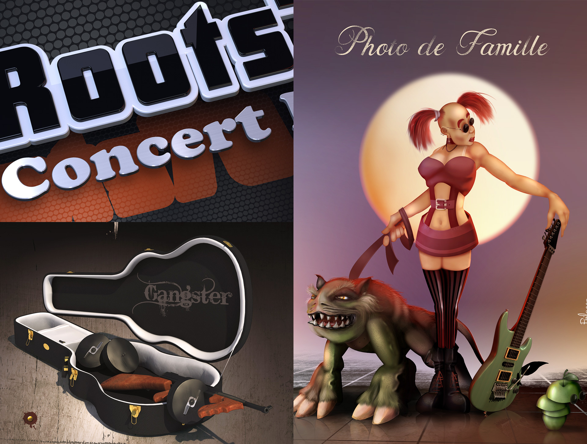 Illustration affiches concert rock, infographiste illustration 2D/ 3D