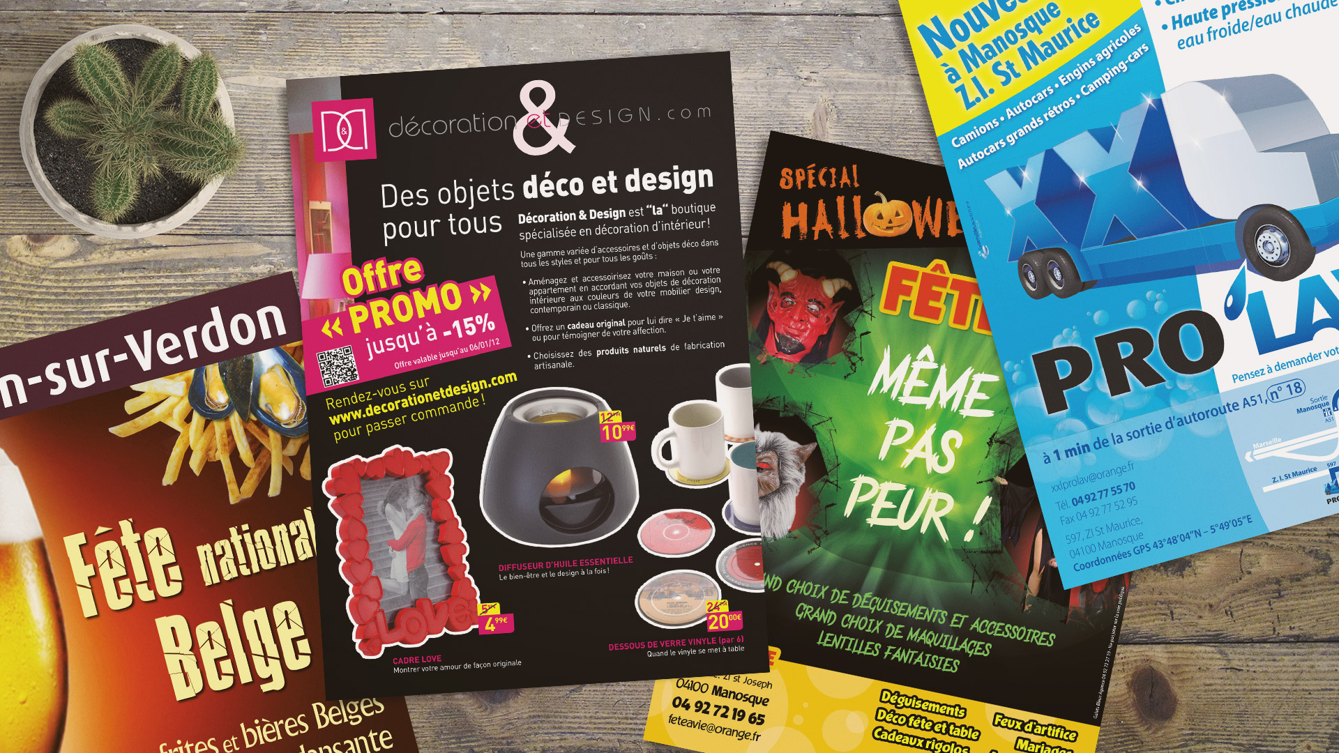 Flyers, affiches et PLV : divers flyers