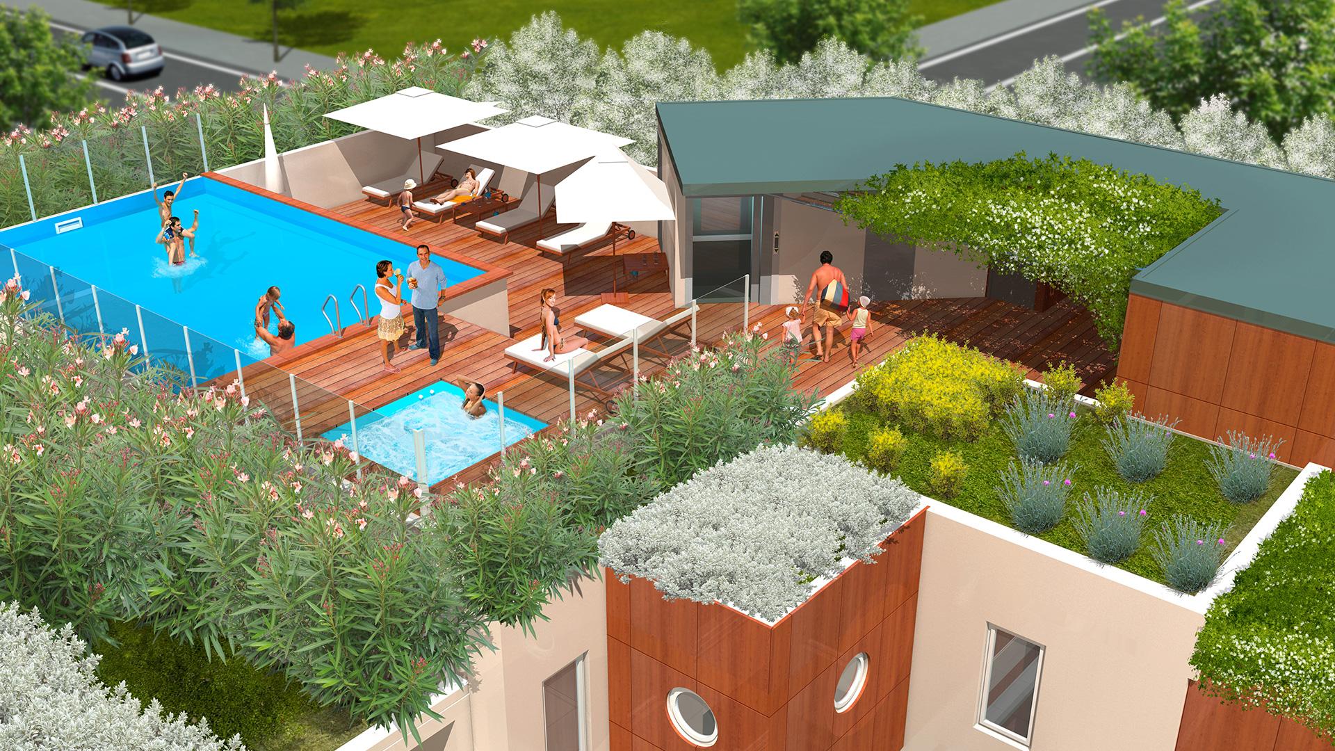 Perspectives 3D : le Premium, vue du toit avec piscine