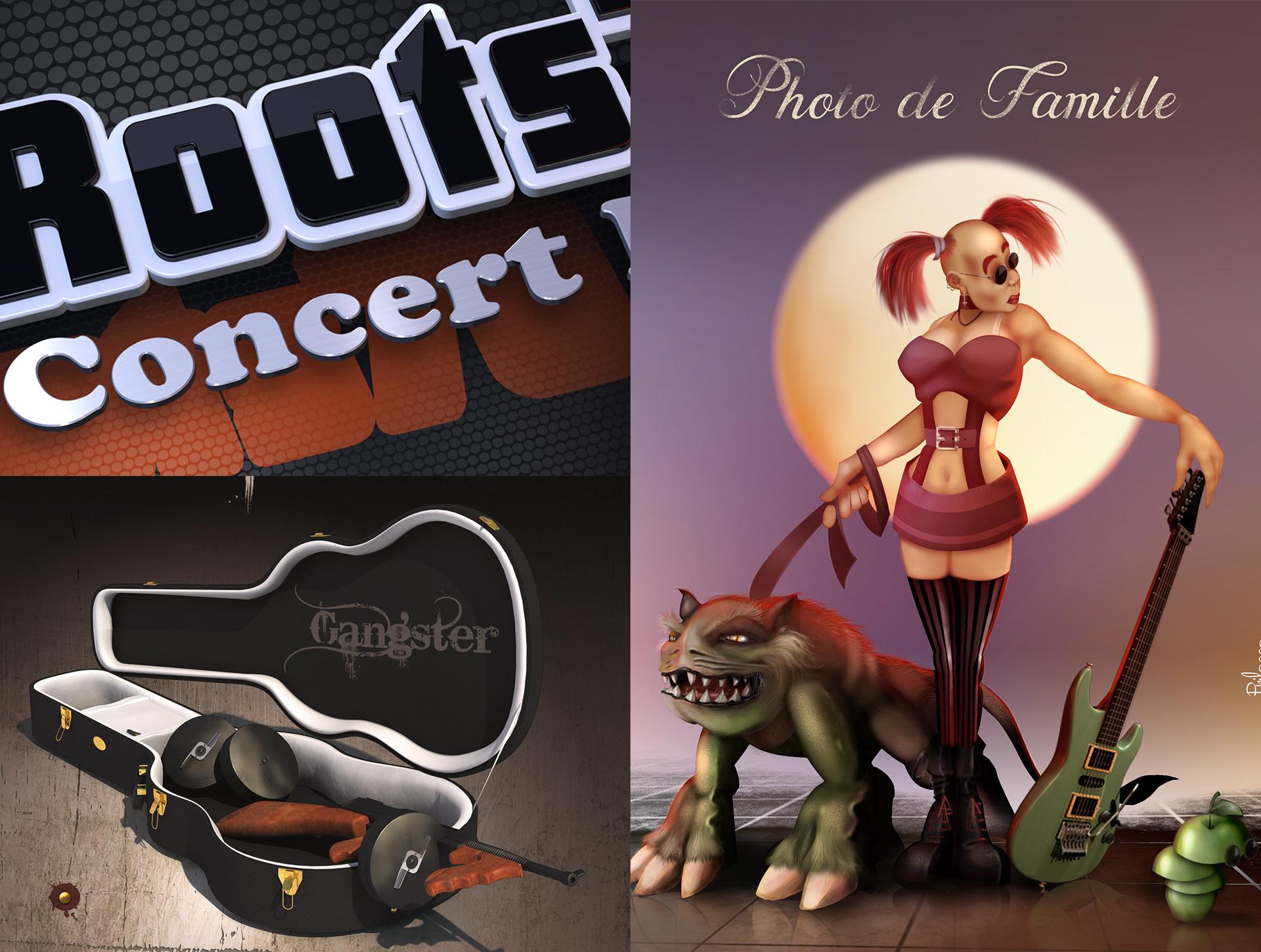 Illustration affiches concert rock, infographiste illustration 2D/ 3D