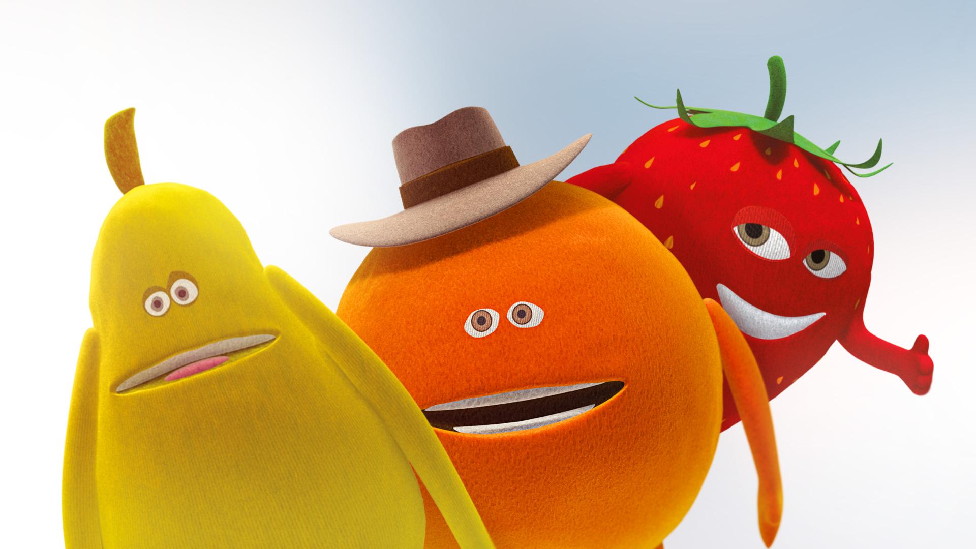 Mascottes 3D poire, orange et fraise Oasis