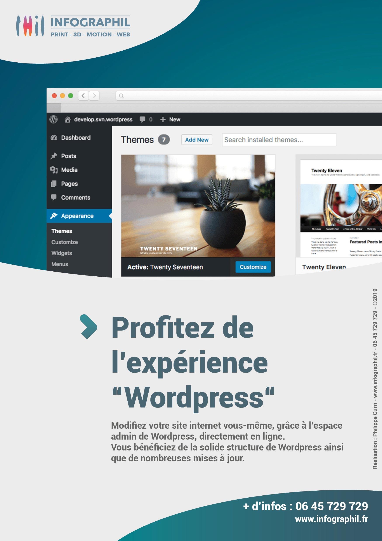 """Profitez de l'expérience """"Wordpress"""" Modifiez votre site internet vous-même, grâce à l'espace admin de WordPress, directement en ligne. ?Vous bénéficiez de la solide structure de WordPress ainsi que de nombreuses mises à jour."""