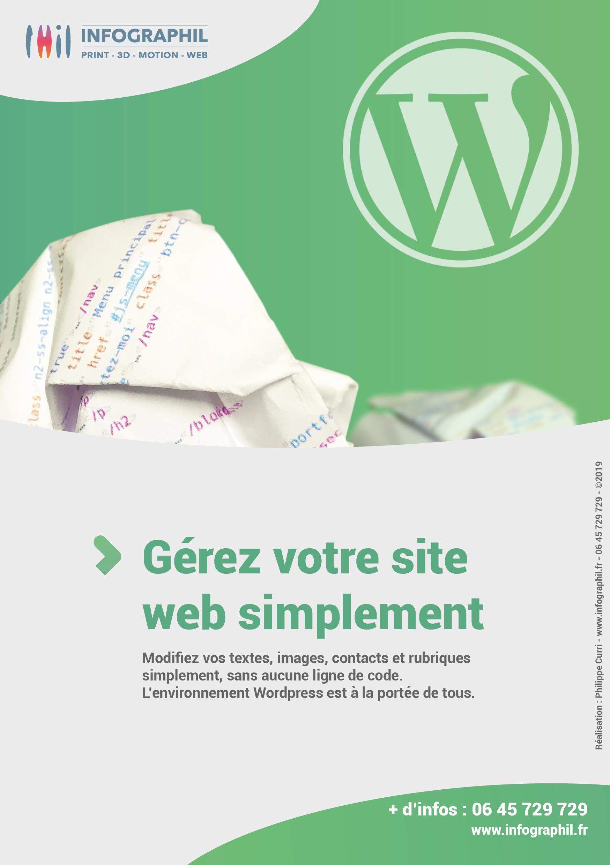 Gérez votre site web simplement Modifiez vos textes, images, contacts et rubriques simplement, sans aucune ligne de code. L'environnement WordPress est à la portée de tous.