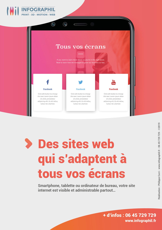Des sites web qui s'adaptent à tous vos écrans Smartphone, tablette ou ordinateur de bureau, votre site internet est visible et administrable partout…